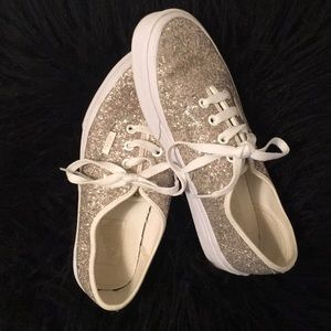 {Vans} gold sparkly sneakers